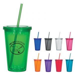 Custom 16oz Double Wall Acrylic Tumbler w/ Straw