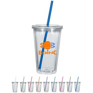 Custom 16oz Double Wall Clear Tumbler w/ Colored Straw