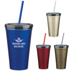 Custom 16oz Stainless Steel Double Wall Tumbler w/ Straw