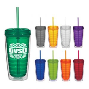 Custom Econo 16oz Double Wall Tumbler w/ Lid & Straw